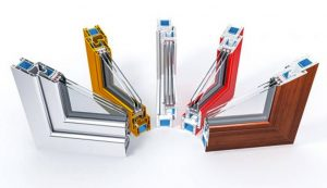 Triple glazed profiles in different colours