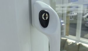 Close up of a window handle lock