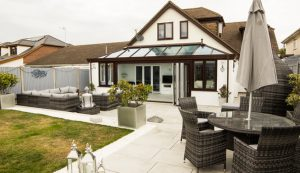 Brown and white uPVC orangery installation