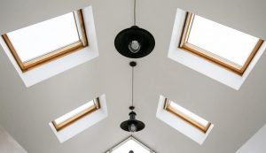Oak effect roof lights interior view