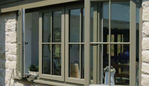 Moss green uPVC casement window