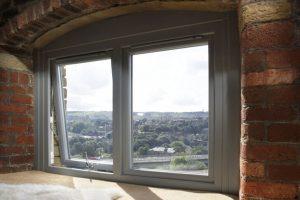 Grey aluminium casement window