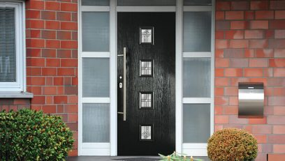 Contemporary black composite entrance door