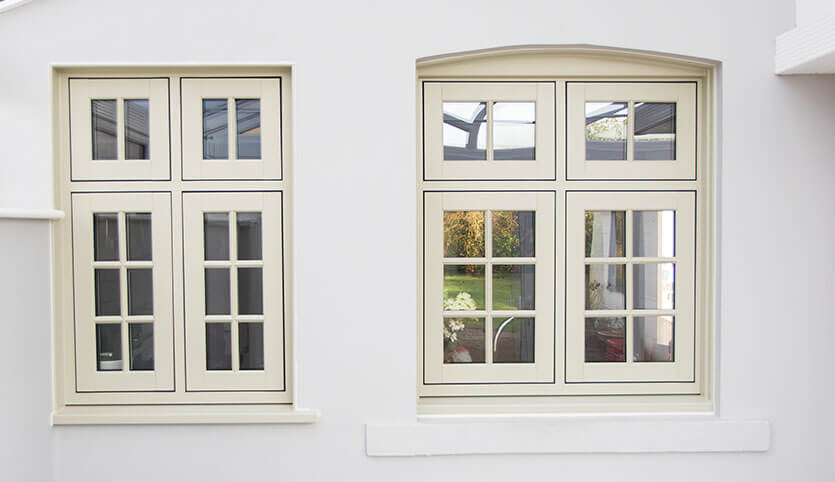 Cream uPVC flush sash windows installation