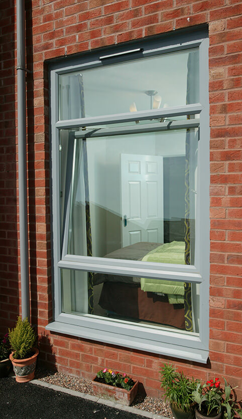 Grey uPVC tilt and turn windows
