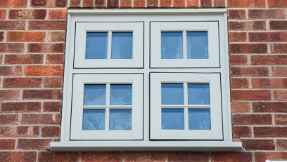 Double glazed window in traditional flush sash style