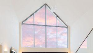 Bespoke aluminium windows in triangle shape arrangement