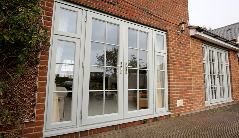 Two grey uPVC french doors