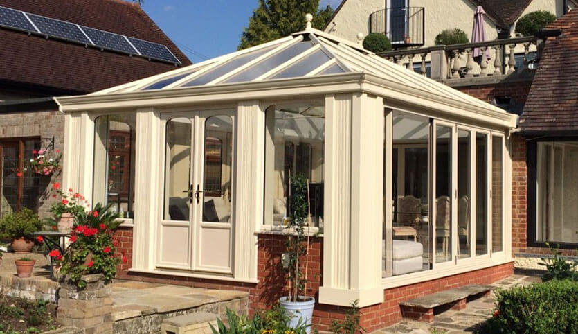 Large cream Loggia conservatory installation