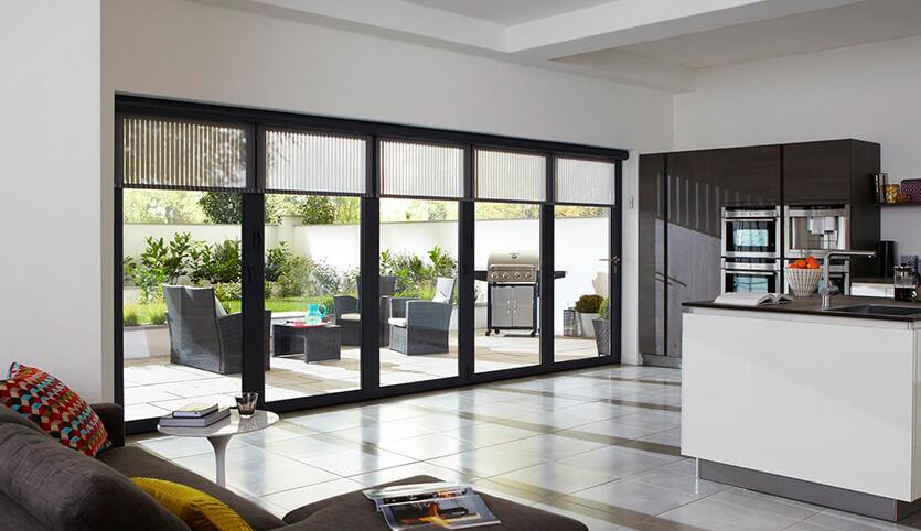 Black aluminium bifold door interior view