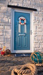 Light blue aluminium entrance door