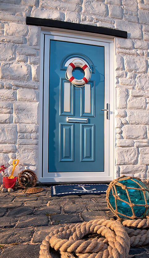 Light blue aluminium entrance door