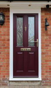 Purple composite door with gold hardware