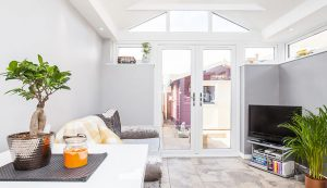 Single storey extension interior view with uPVC french doors