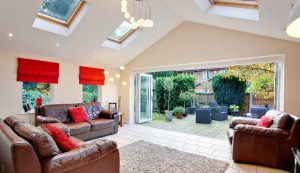 Extension interior with a gable pitched roof