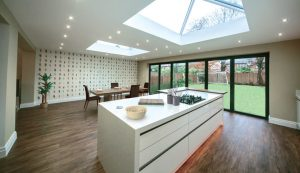 Extension with bifold doors interior view