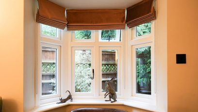 Interior view of double glazed bay style windows