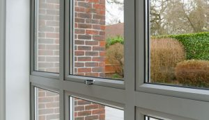 Interior view of grey aluminium windows