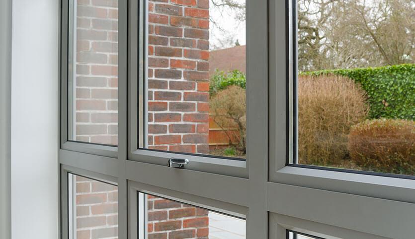 Interior view of grey aluminium windows