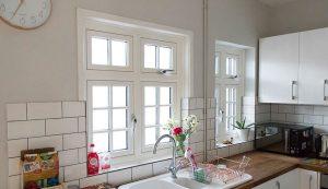 White uPVC flush sash windows interior view