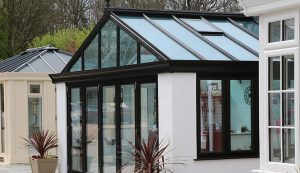 uPVC Gable conservatory with a black roof