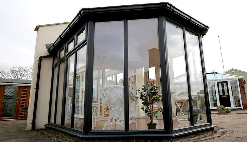 Black aluminium Victorian conservatory