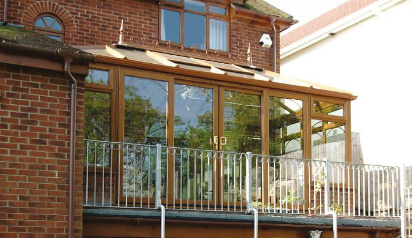 Golden oak effect uPVC Edwardian conservatory