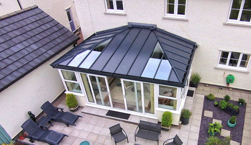 Large uPVC conservatory with a LivinROOF