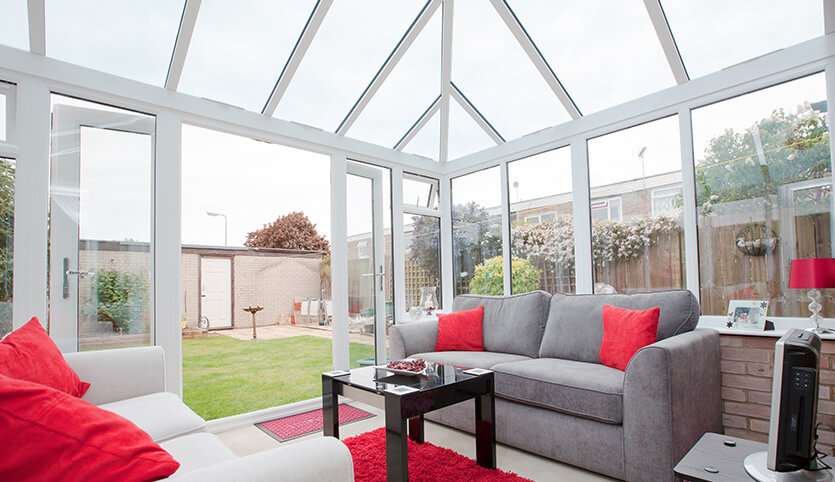 Edwardian conservatory with a glass roof