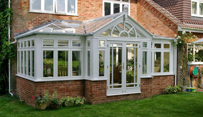 Grey T-Shaped conservatory installation