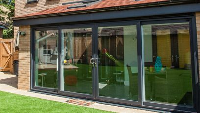 Black uPVC sliding patio door