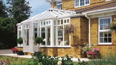 White T-Shaped conservatory installation