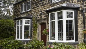 Classic white uPVC bow windows