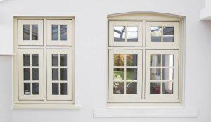 Cream flush sash windows