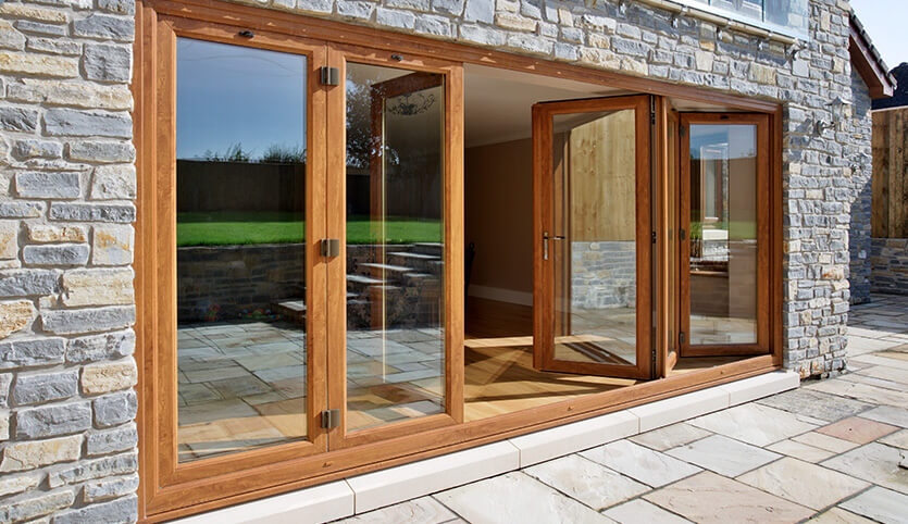Eurocell oak effect bifold door