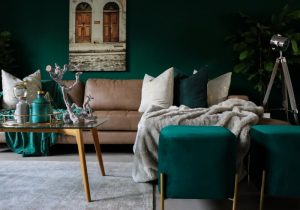 Green and brown room and furniture.