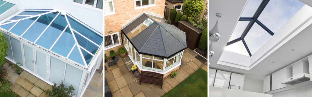 3 different conservatory roofs.