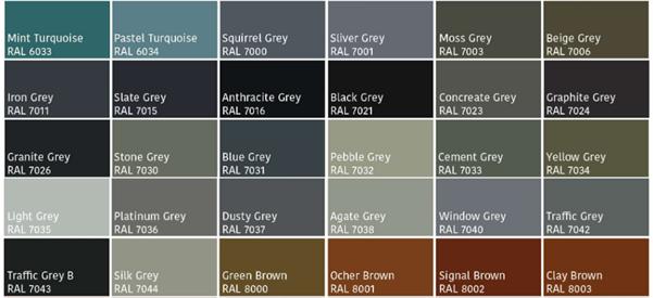 Grey window colour palette RAL.